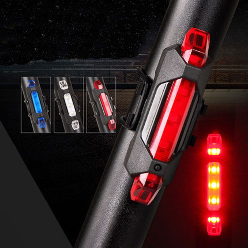 USB Rechargeable 5 LED Bike Tail Light Bicycle Safety Cycling Warning Rear Lamp