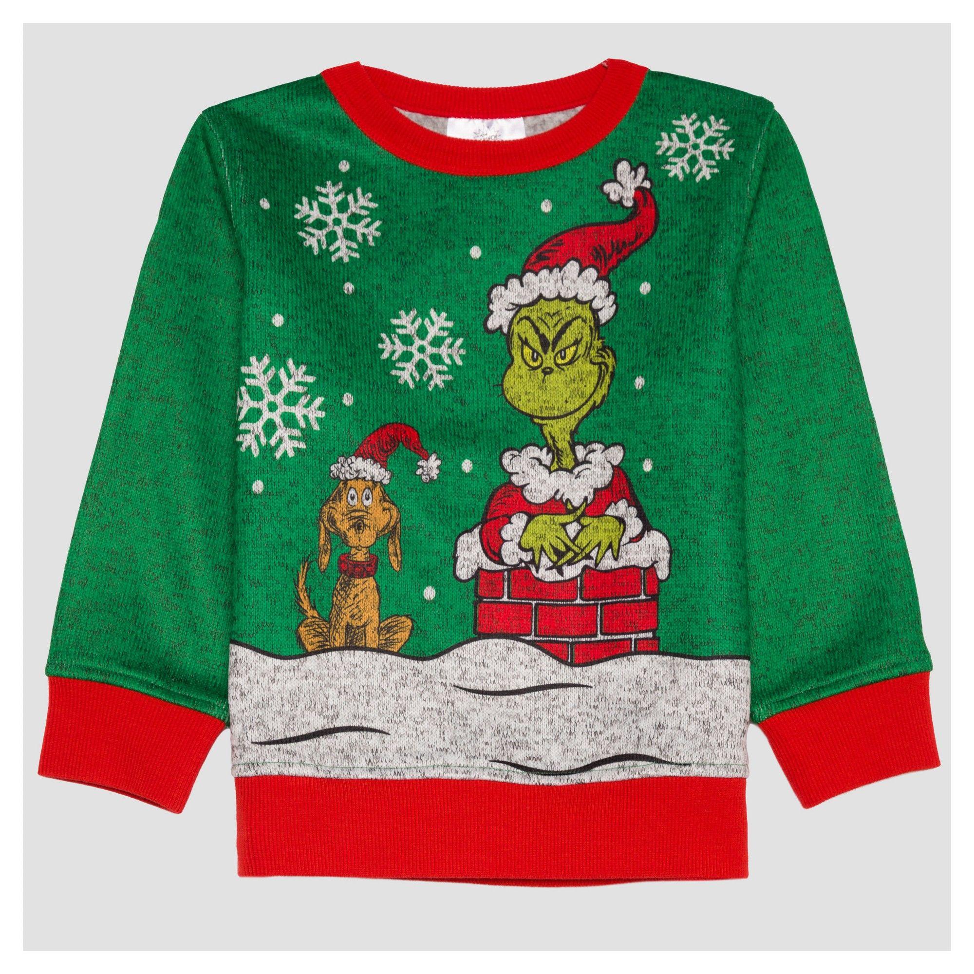 65a92296e8305b Dr. Seuss Toddler Boys' How the Grinch Stole Christmas Sweatshirt - Pepper  4T, Green