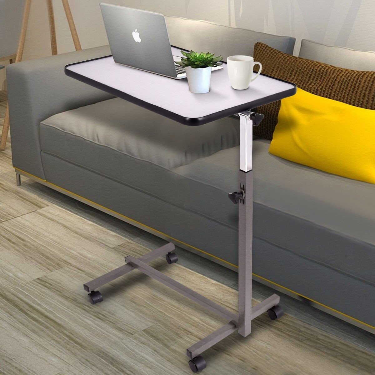 Over Bed Food Tray Small Rolling Computer Table Rolling
