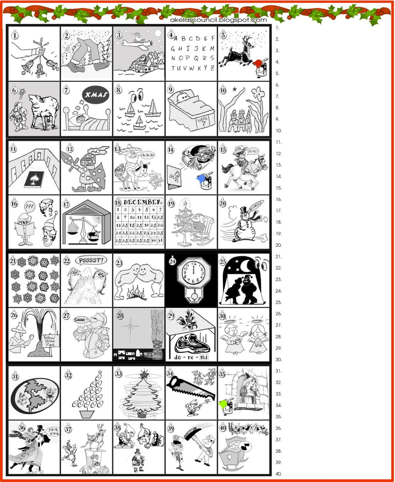 Printable Guess The Christmas Songs Or Carols Word