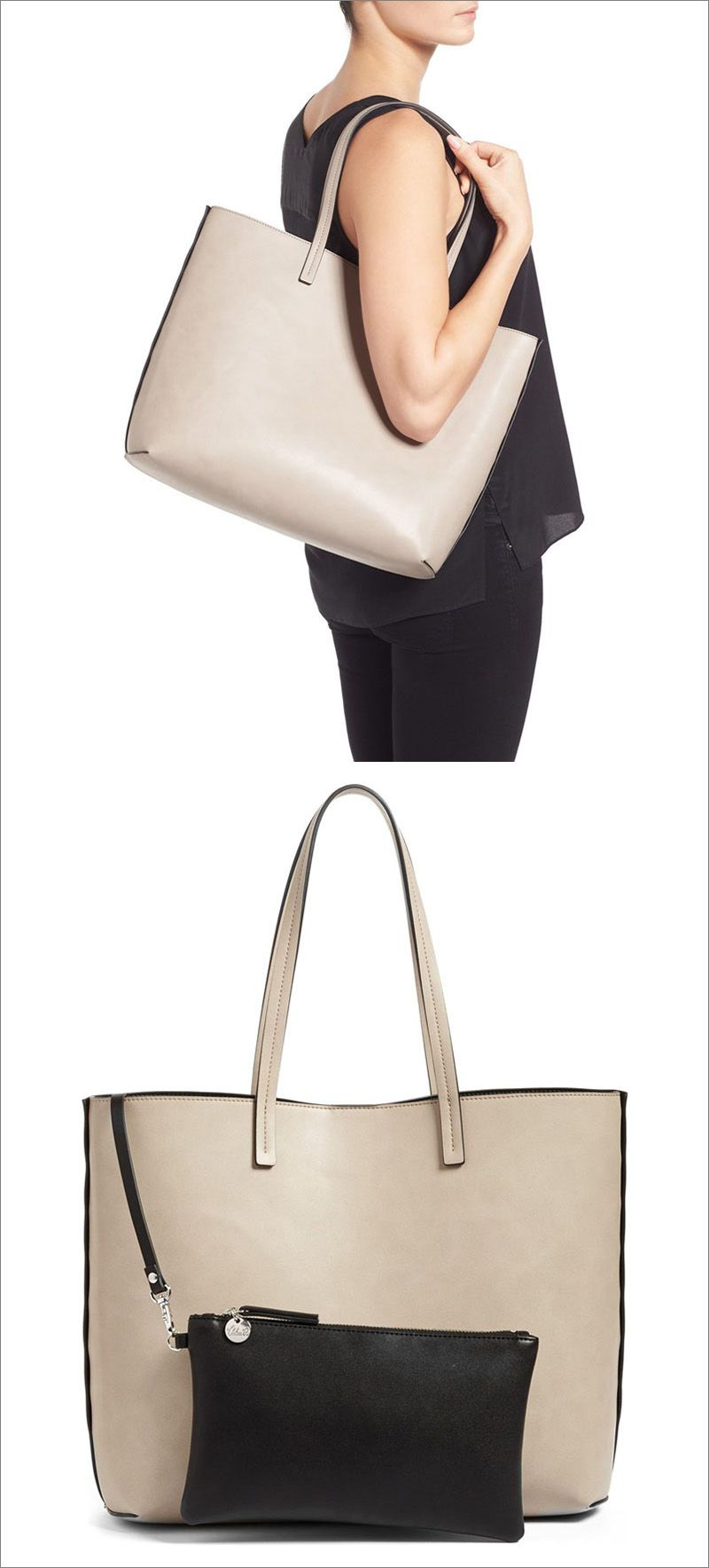 54dfb5f4b0da This minimalist light colored faux leather tote comes with a small black  modern zip up pouch to tuck inside.