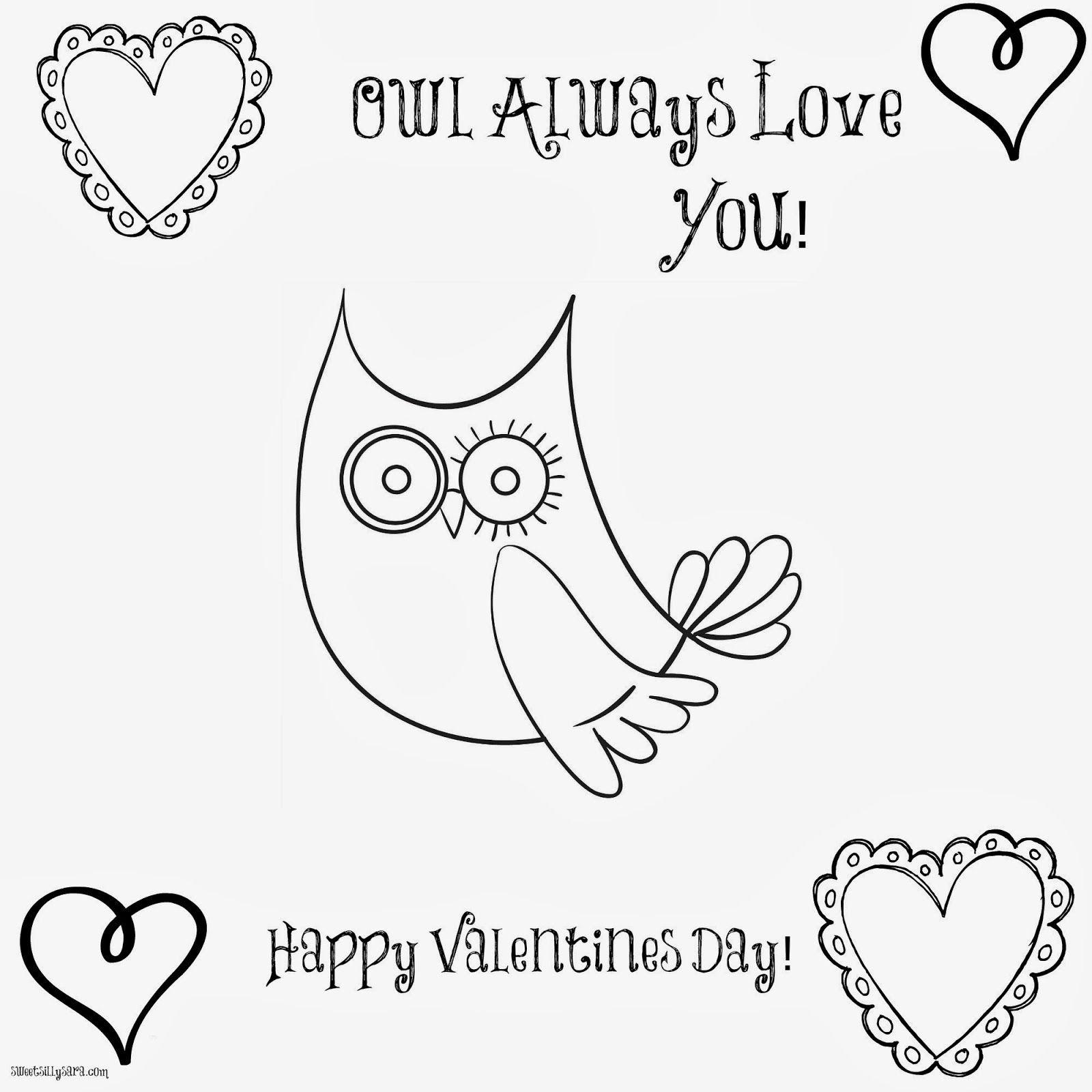 Owl Valentine Coloring Page Pinned by www.myowlbarn.com | Valentine ...