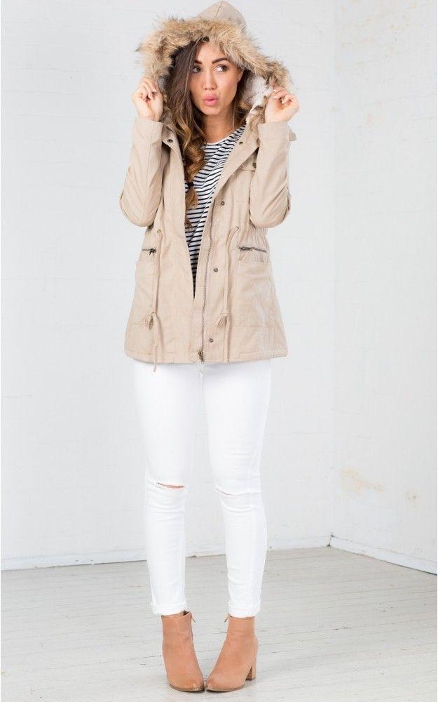 Beige Parka Jacket Womens