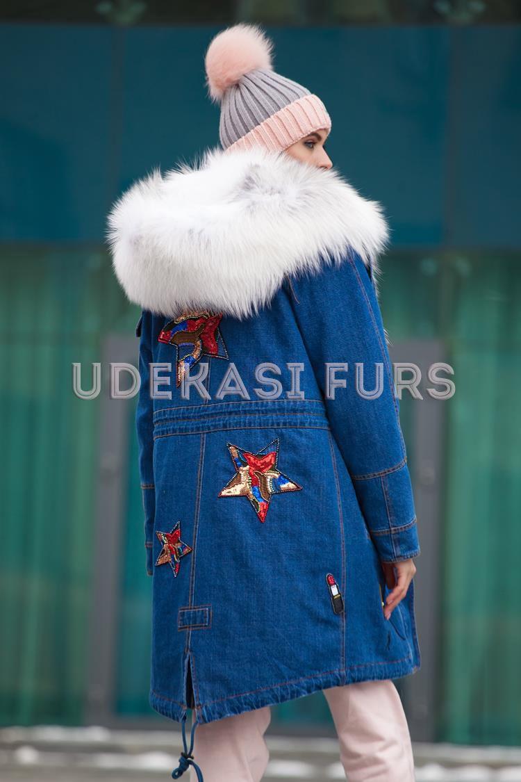 Джинсовая парка с мехом Arctic Fox 5338, парки с натуральным мехом Udekasi  Furs 6a307cf2e70