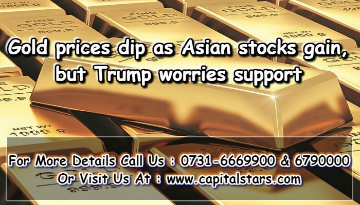 Gold Prices Edged Lower On Monday As Asian Stocks Gained Although Political Worries Surrounding U S President Donald Trump Are Expected To Keep Supporting