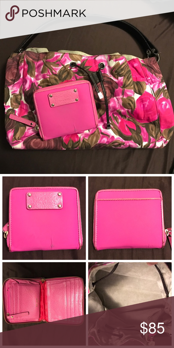 Kate Spade Floral bag & wallet Kate Spade Floral bucket bag and wallet. Purse in excellent condition wallet has stain in front as shown kate spade Bags