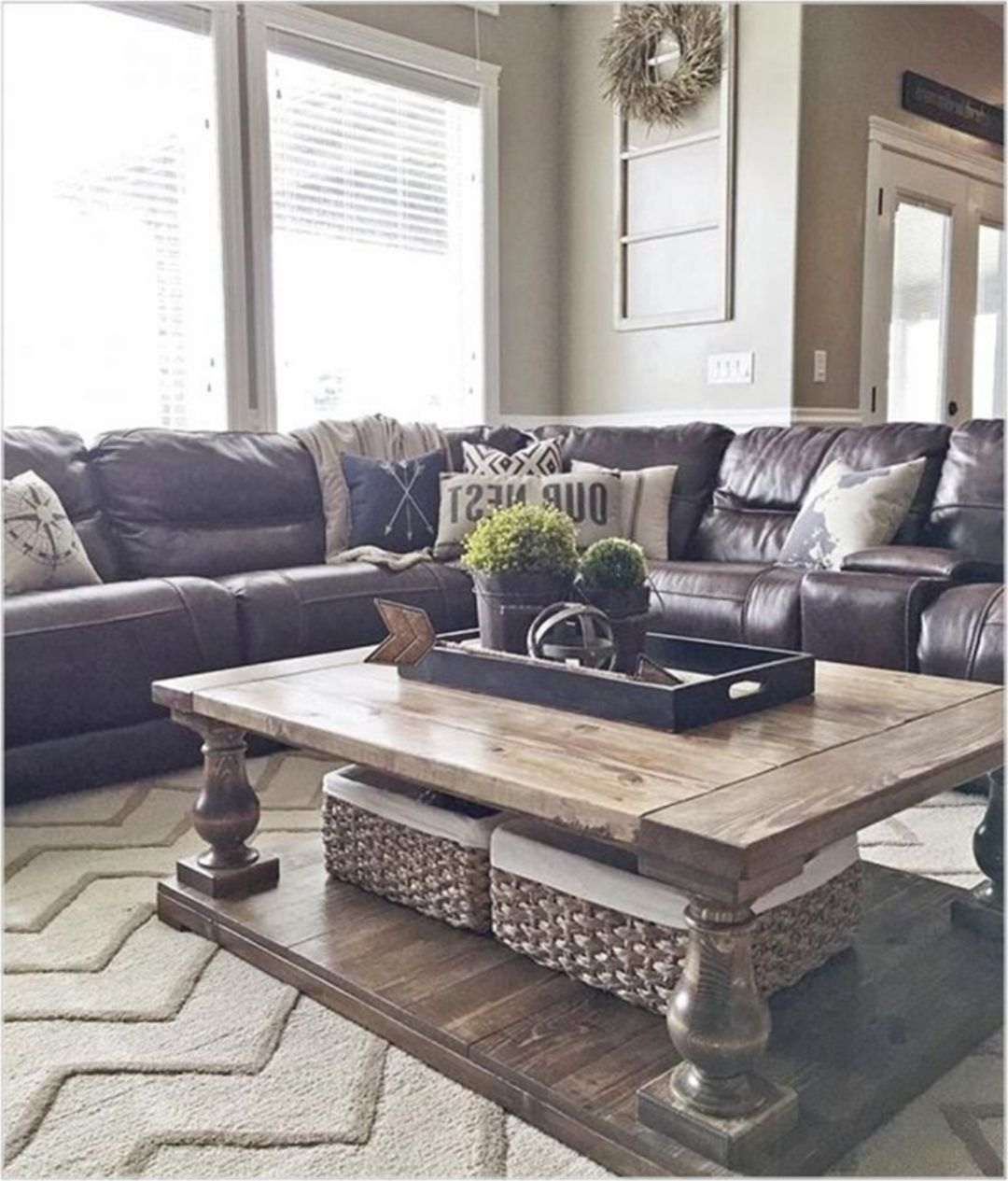 25 Great Farmhouse Coffee Table Design And Decor Ideas Brown