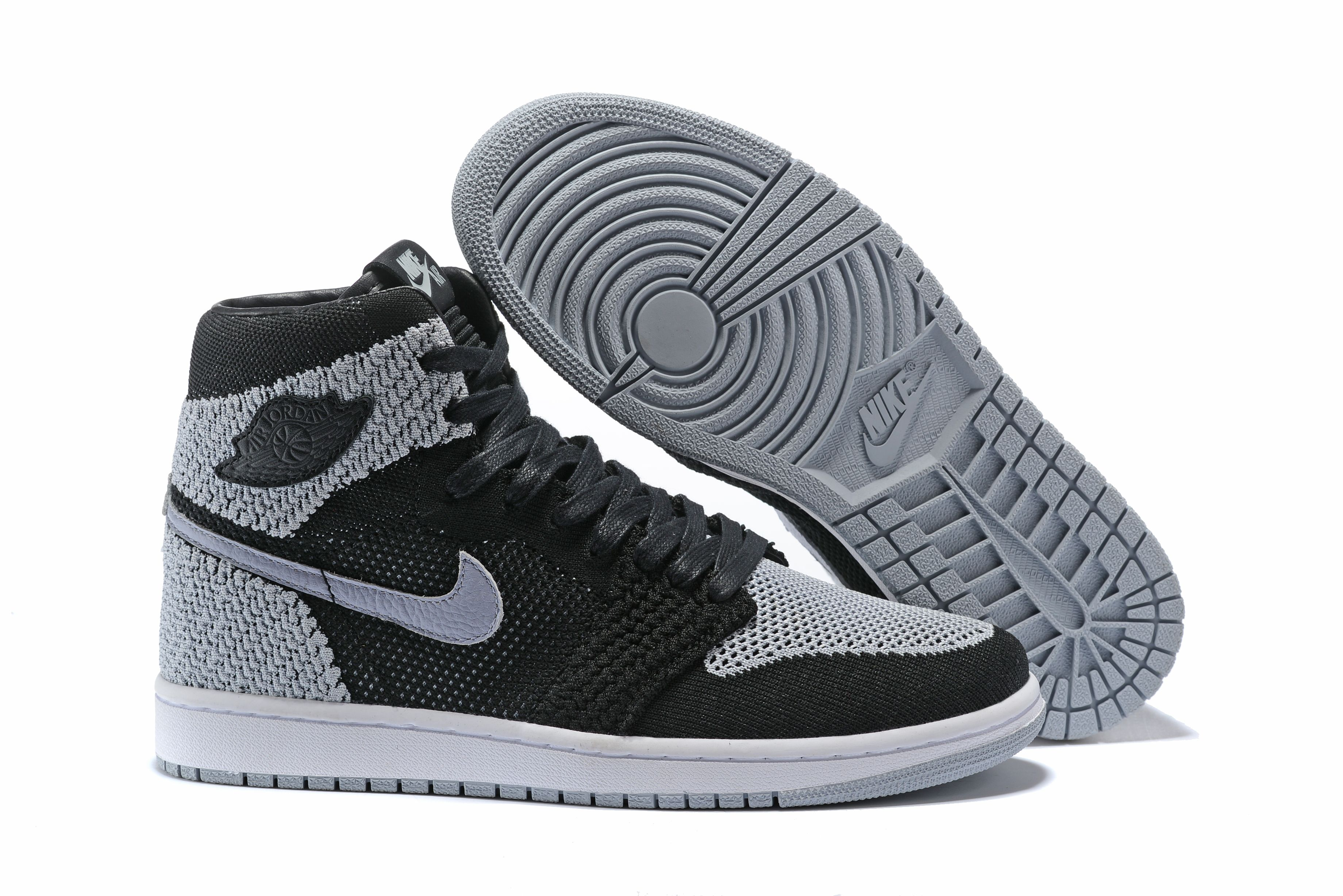 "00e1ca2707818 Air Jordan 1 Retro High Flyknit ""Shadow"" Black Medium Grey-White 919704-003"