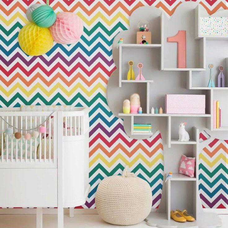 Rainbow Chevron Peel Stick Wallpaper Rainbow Wall Decal Removable Wallpaper Rainbow Room Kids