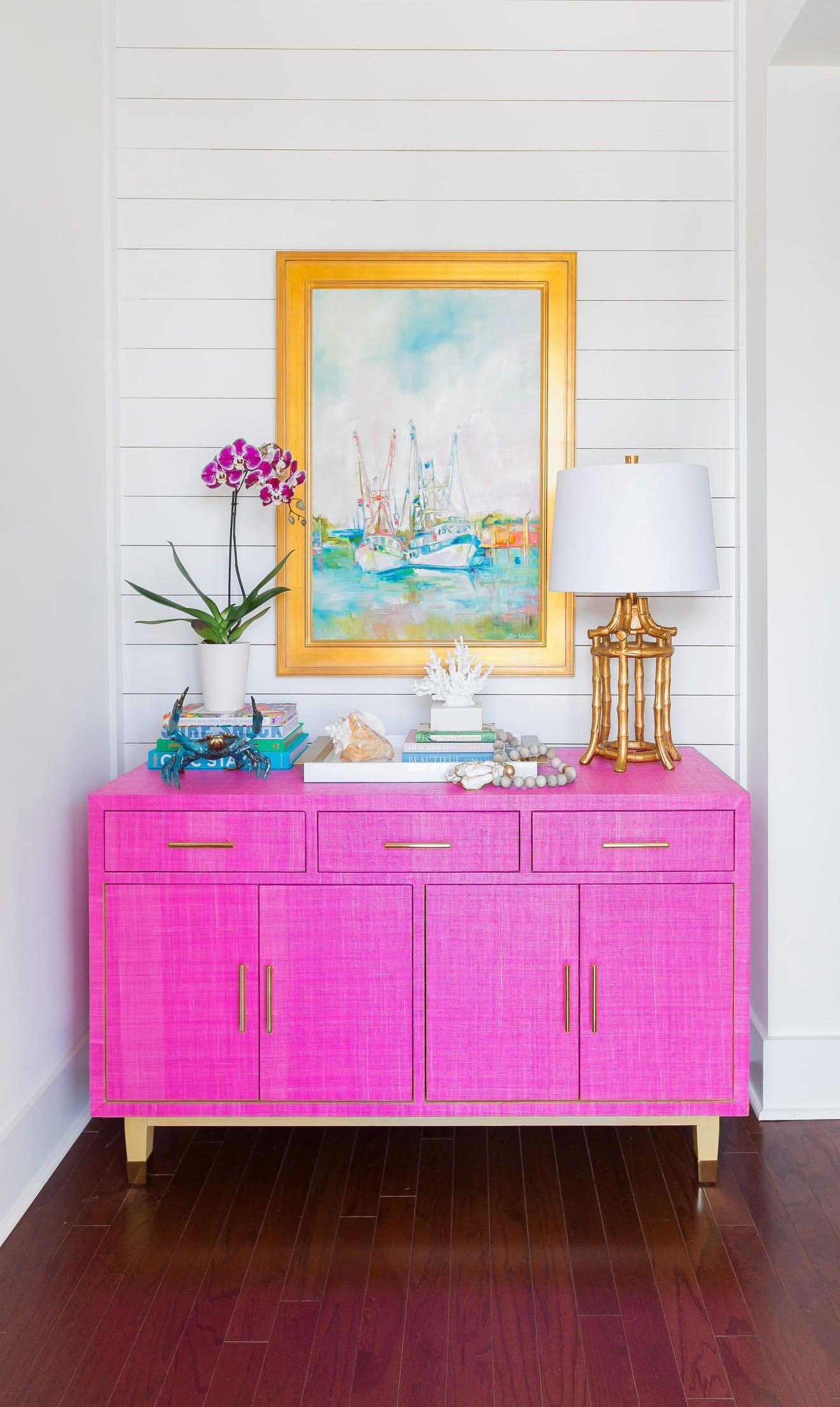 Carmen Grasscloth Credenza - Pink