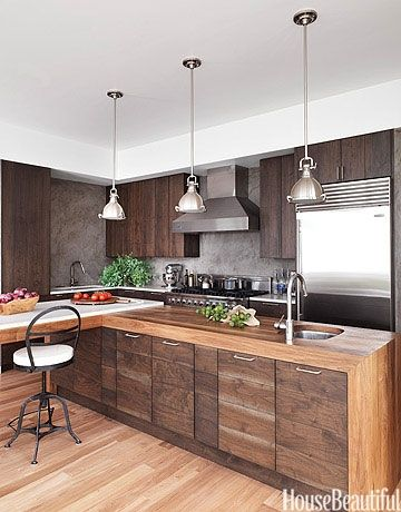 stunning kitchens walnut cabinets | Warm wood tones with stainless steel, always a beautiful ...