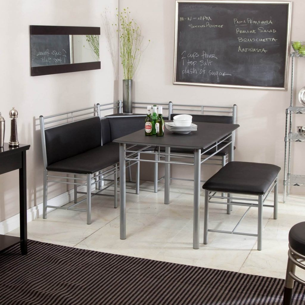 Dining room table with upholstered bench  Kitchen Nook Dining Set Upholstered Bench Style Seating