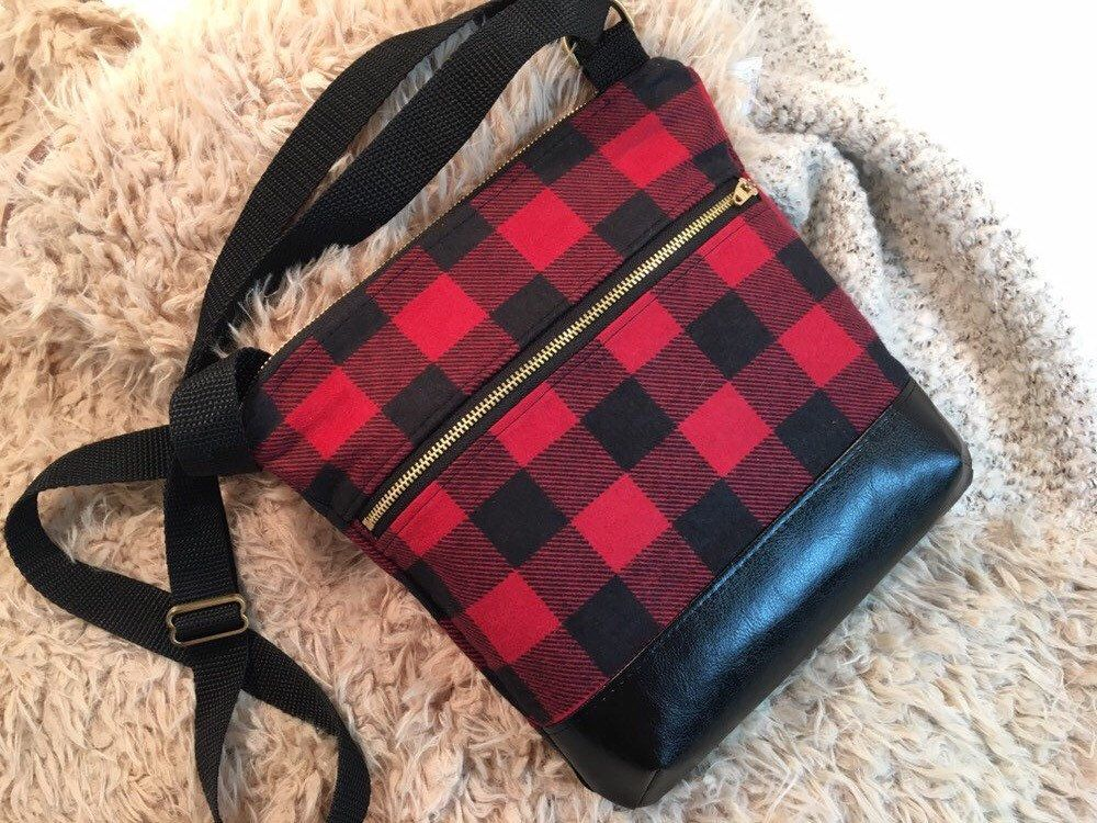 Black flannel crossbody purse