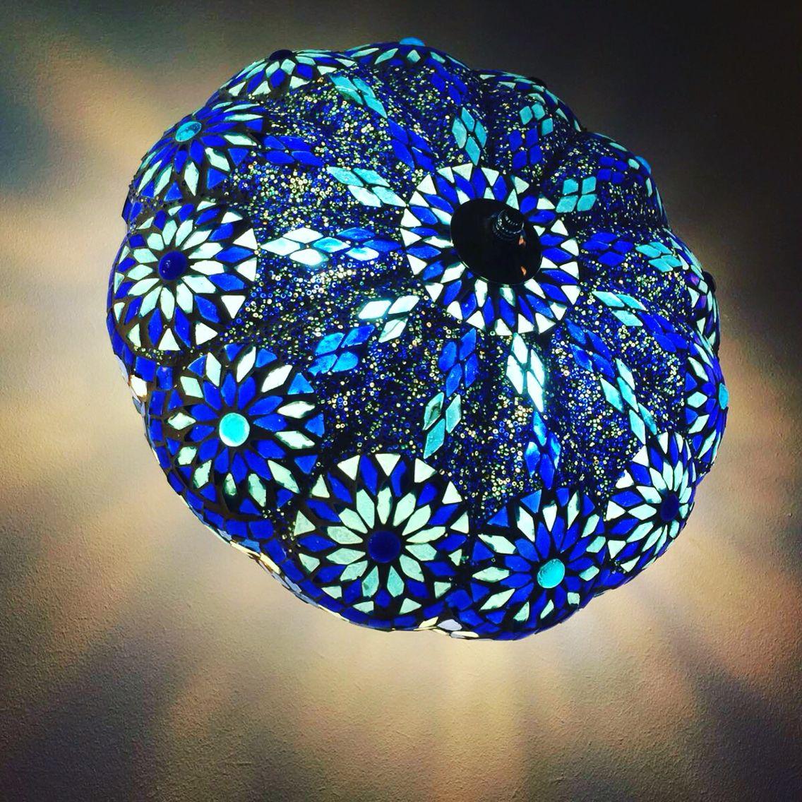 Blue and aqua Mosaic ceiling lamp. Ibiza style.