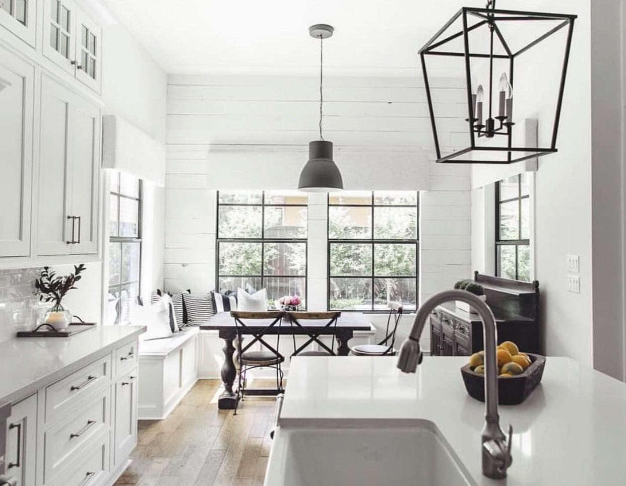 White Kitchen Bronze Hardware Black Accents White Farmhouse