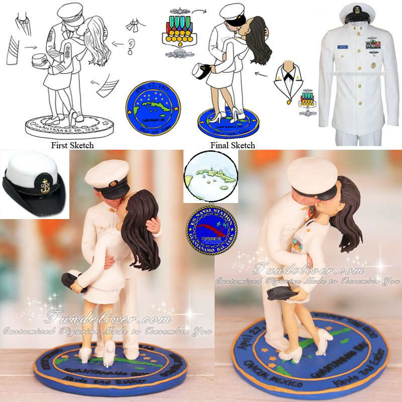 Navy Chief Wedding Cake Toppers
