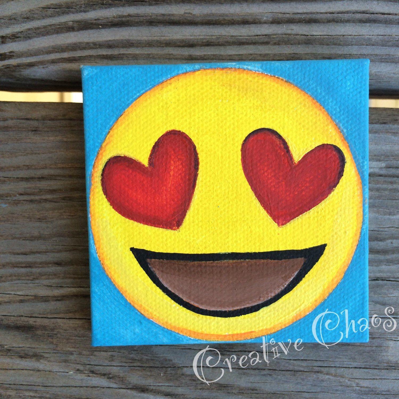 Heart Eyes Emoji Painting Emoji Art Canvas Art Projects