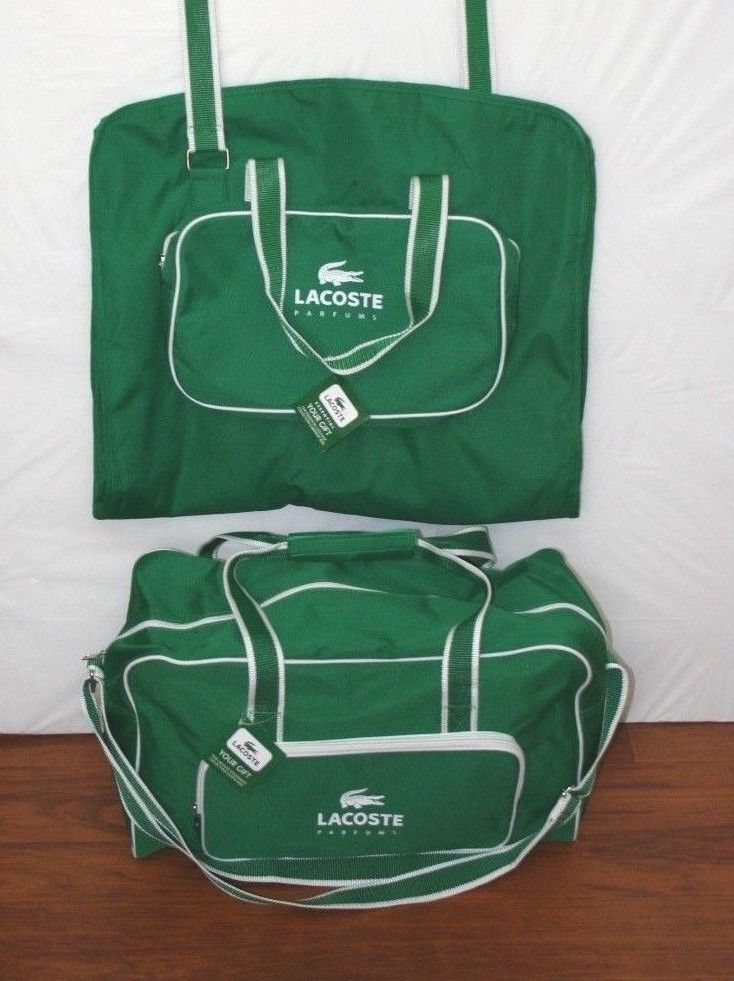 c7d1d156fa NEW LACOSTE PARFUMS SET Garment Bag AND Duffle Weekender Bag Green White  Travel #Lacoste #TheSmartShoppe