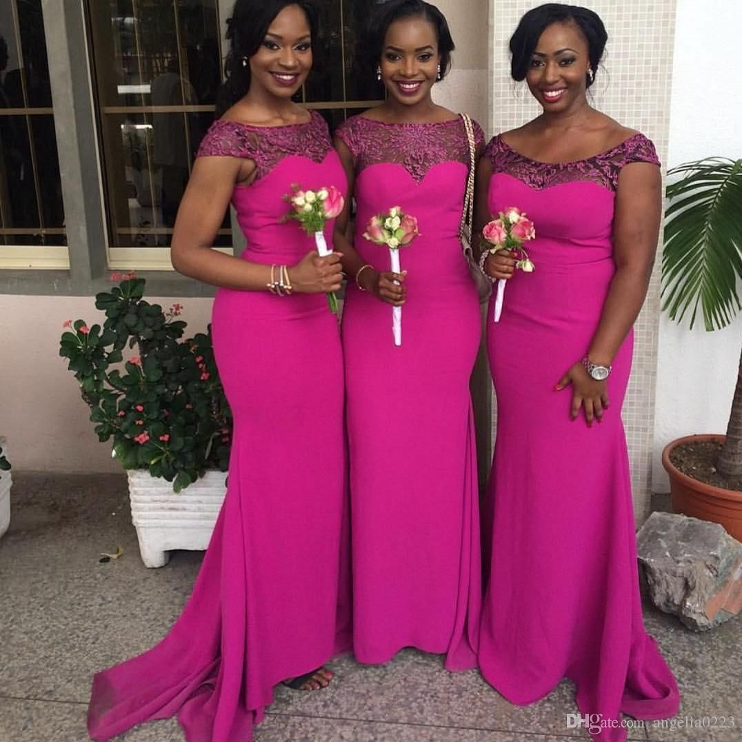 Cheap 2016 fuchsia african mermaid bridesmaid dresses cap sleeves cheap 2016 fuchsia african mermaid bridesmaid dresses cap sleeves lace satin formal party dresses for wedding ruched fushia maid of honor gowns as low as ombrellifo Images