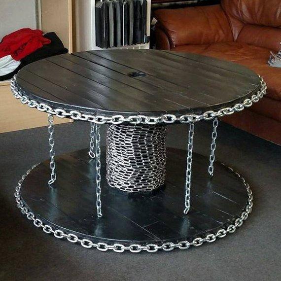 Benutzerdefinierte Kabel Spool-Tabelle mit industriellen Kette aussehen, Couchtisch, industrielle Tisch, Beistelltisch, Holztisch, Industriemöbel #cablespooltables