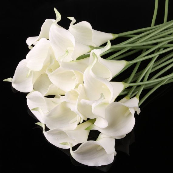 100pcs White Cally Lily Real Nature Touch Flowers for DIY Bridal ...