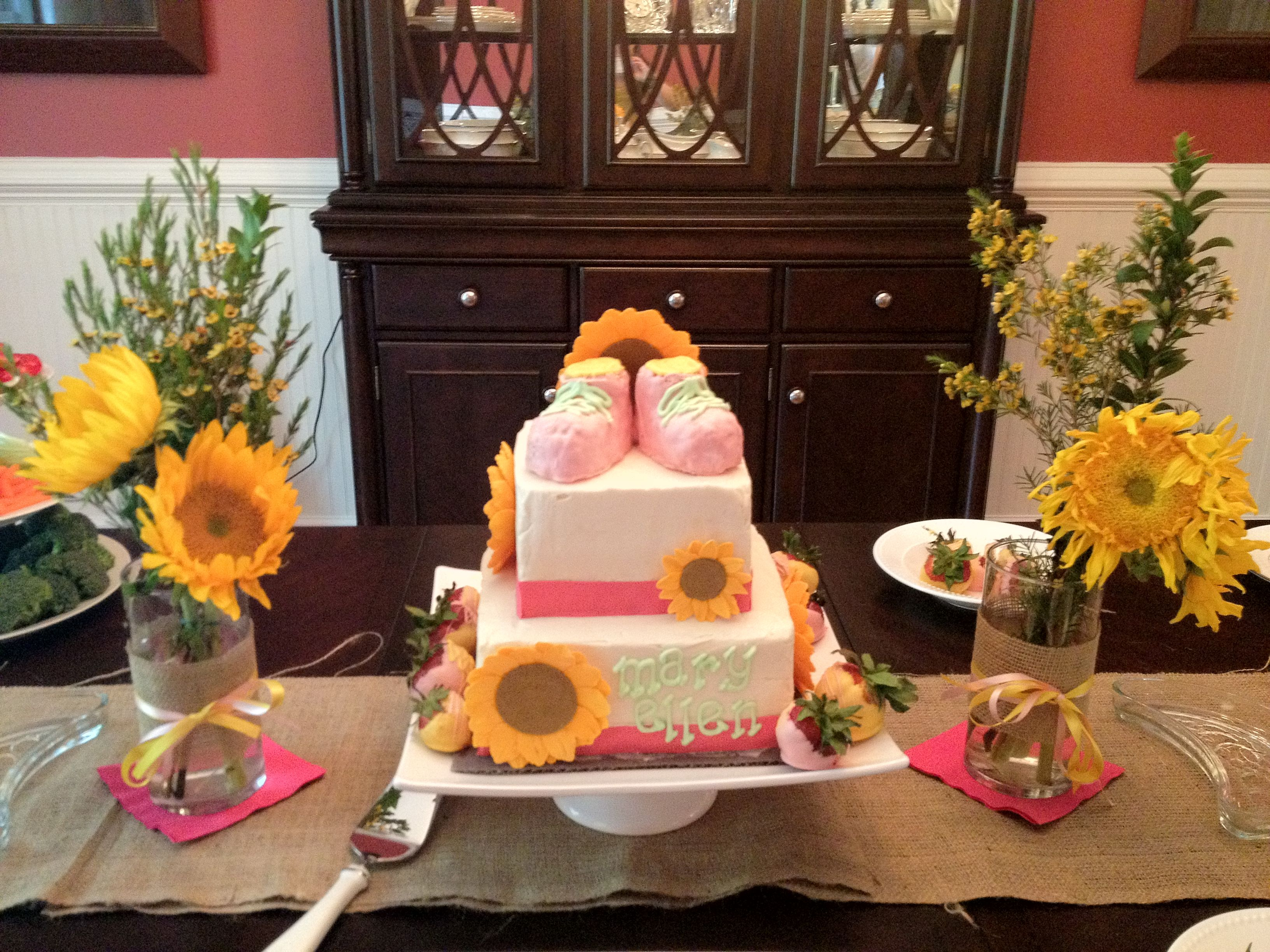 Sunflower Baby Shower Cake And Decor Baby Shower Cakes