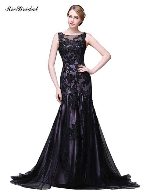 MicBridal Larga de Encaje Negro Sirena Vestido de Fiesta 2016 de La Madre de la…