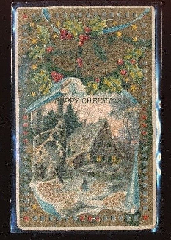 Hold to Light Merry CHRISTMAS Snowy Scene Holly Vintage HTL Postcard