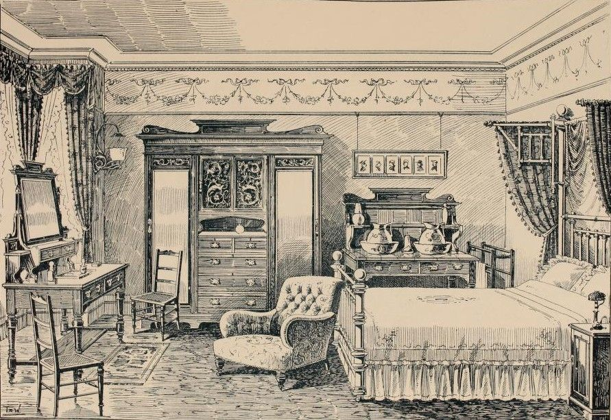 Edwardian Bedroom. Illustrations From The Army & Navy