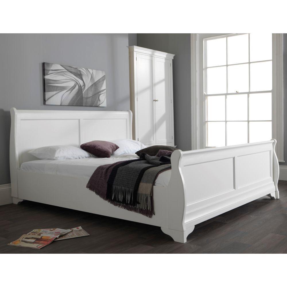 Best Jolie White 6 Super King Size Sleigh Bed White Sleigh 640 x 480