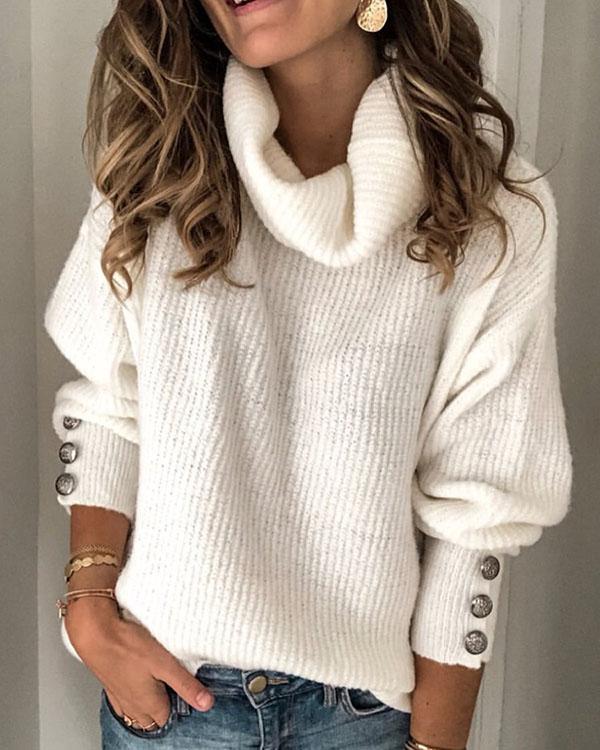Plus Size Long Sleeve Plain Casual Sweater – narachic