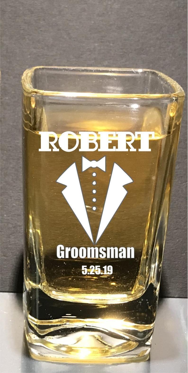 Gatsby themed wedding engraved shot glasses groomsmens