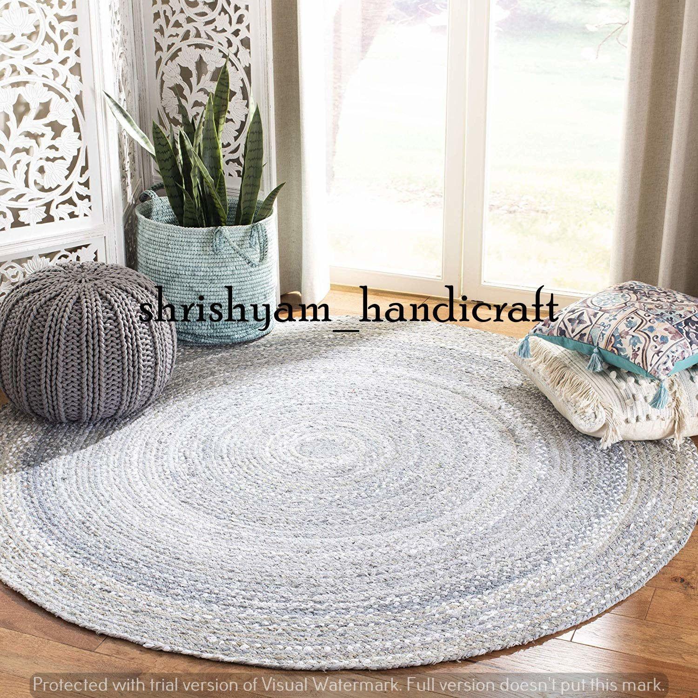 2 Feet Natural Indian Braided Jute Round Floor Rug Yoga Mat Home Living Rug Mat