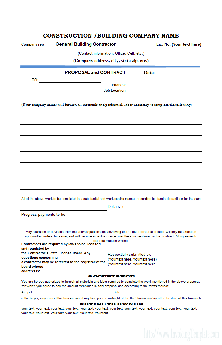 free construction proposal template construction proposal template