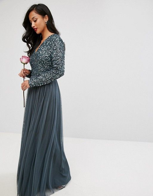 4ade2937c0d Maya Petite Plunge Front Long Sleeve Maxi Dress In Tonal Delicate ...