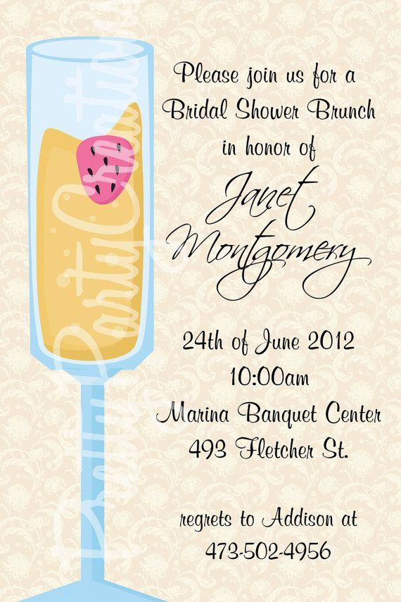 mimosa bridal shower brunch invitation you print 2 to choose other options available 1100 via etsy