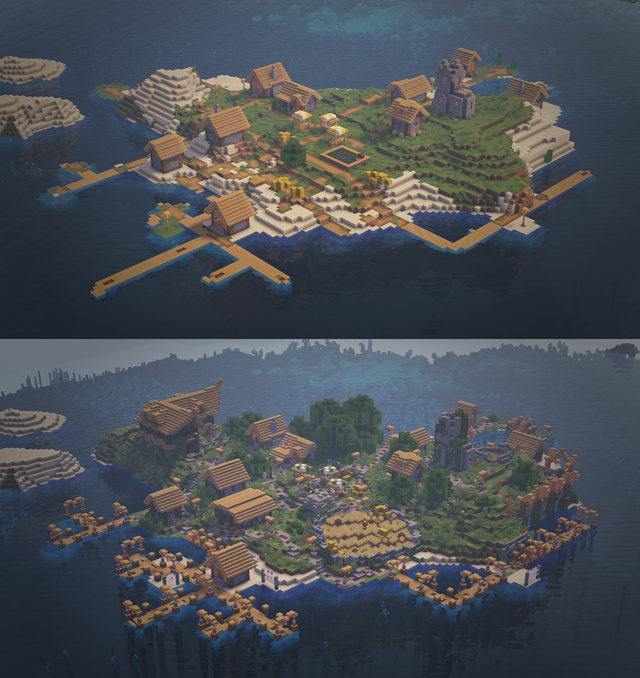 Me my younger brother and sister found this village on a small island and decided to give it an little upgrade