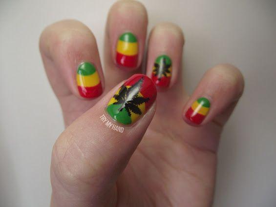 Jamaican Nail Nails Nailart Black Art Pinterest