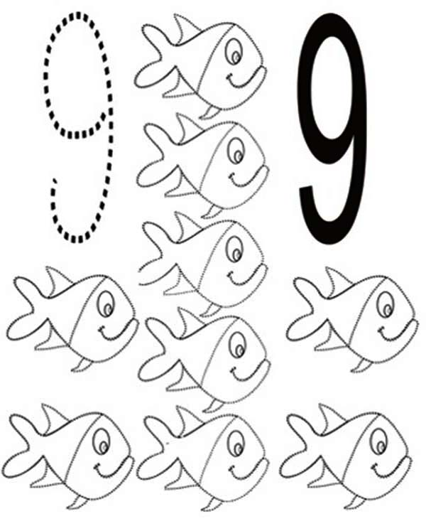 Learn Number 9 With Nine Fishes Coloring Page Bulk Color Fish Coloring Page Coloring Pages Fall Coloring Pages