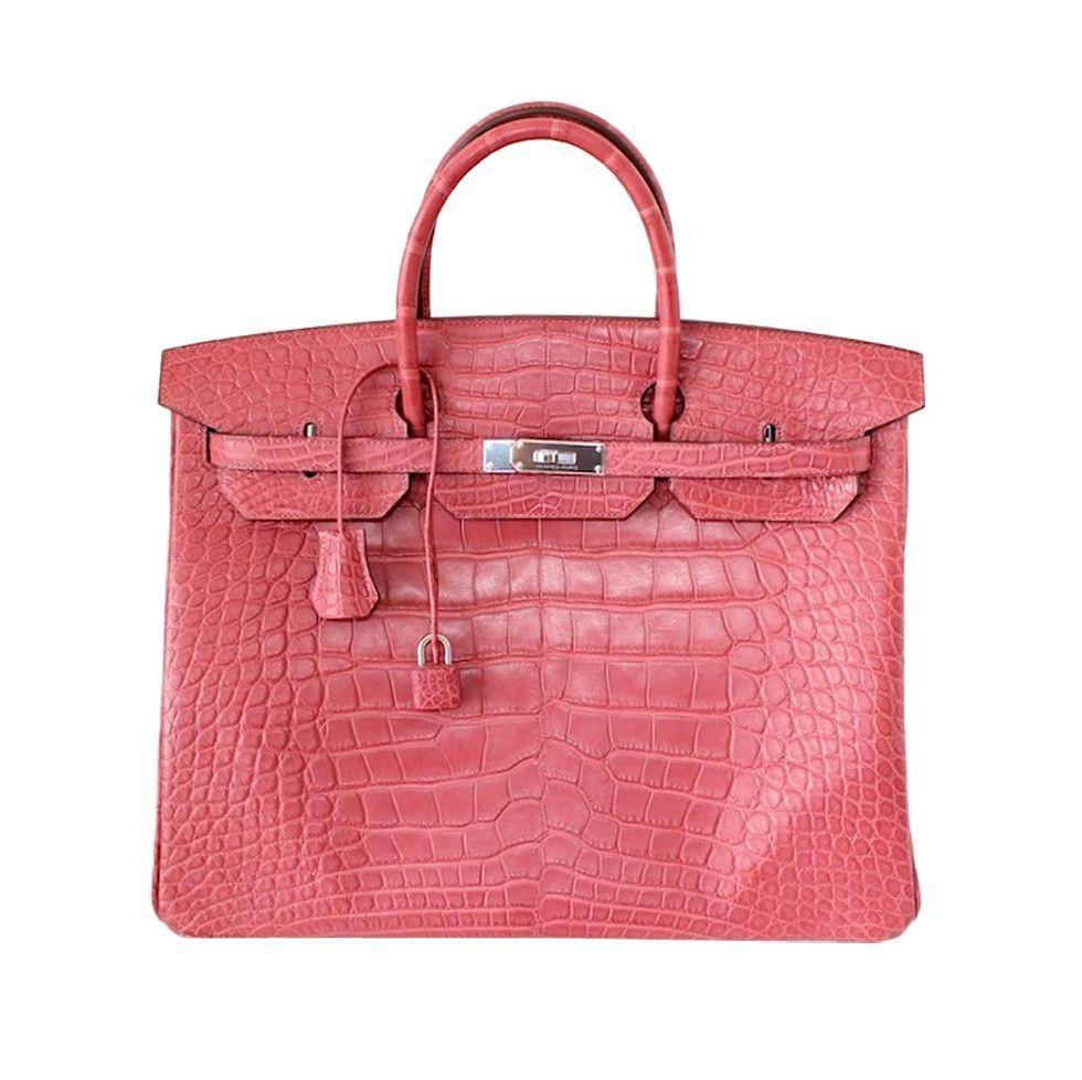 ef86f38604 Hermes Birkin 40 Bag Bois De Rose Pink Matte Alligator Palladium ...