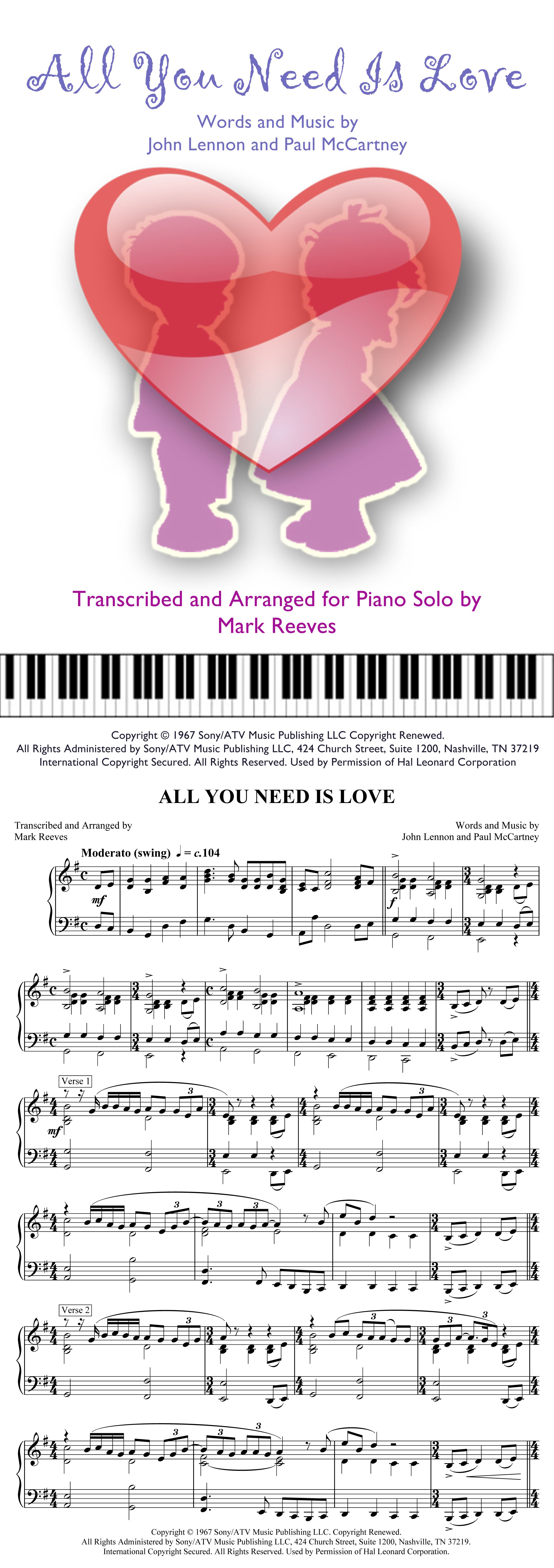 ALL YOU NEED IS LOVE transcribed for intermediate piano