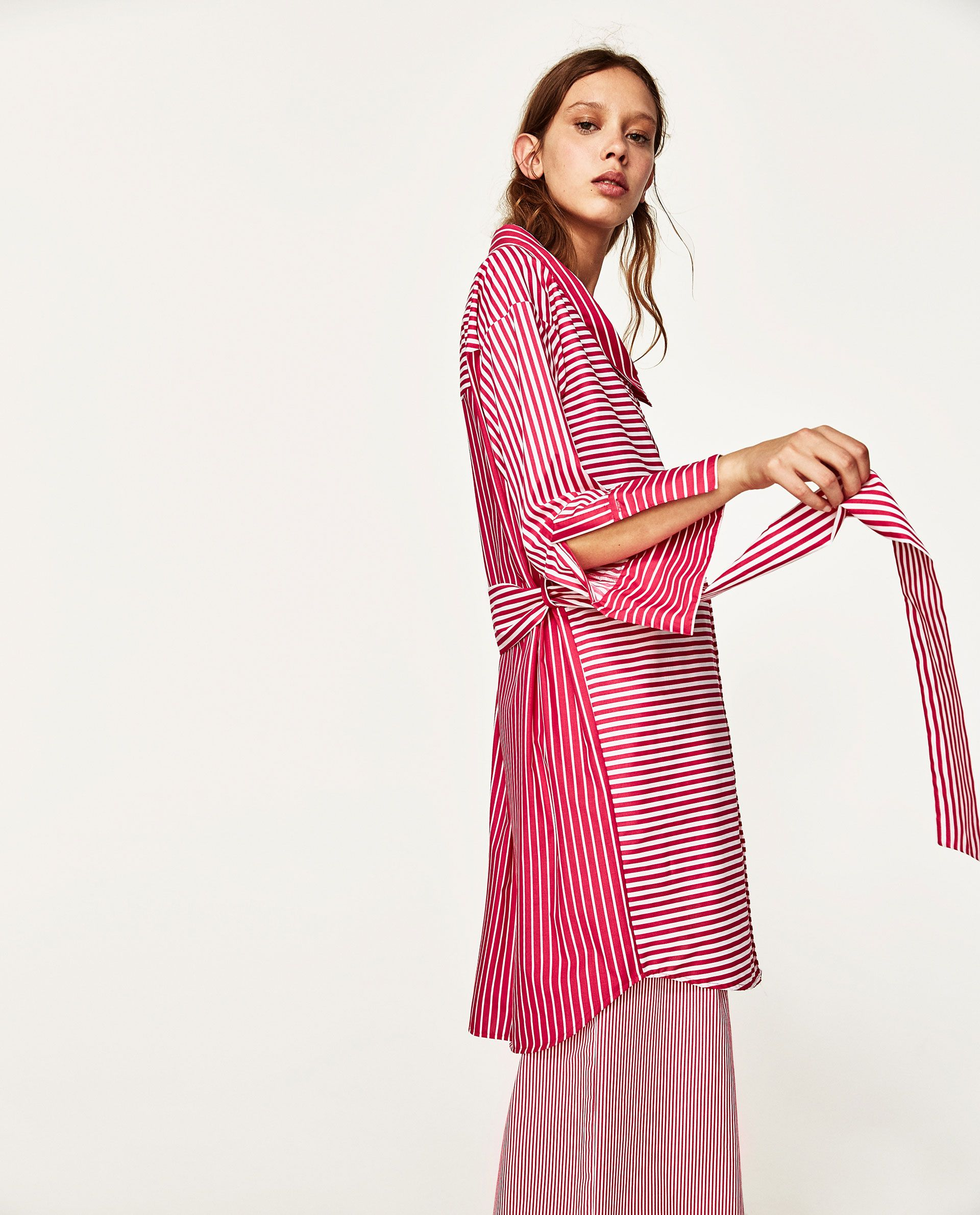 Image 3 of STRIPED CONTRASTING SHIRT DRESS from Zara | Style | Pinterest