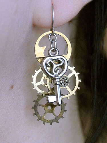 Steam punk earrings-Old cogs and jewelry findings