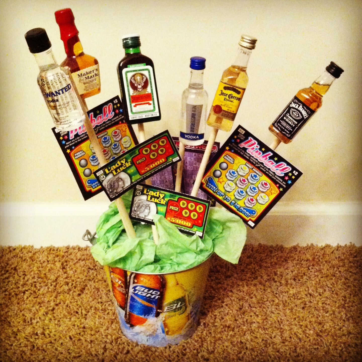 Men 39 s bouquet made by me bucket styrofoam dowel for Things to make out of liquor bottles