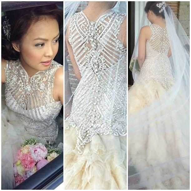 Wedding gown decorated with crystals