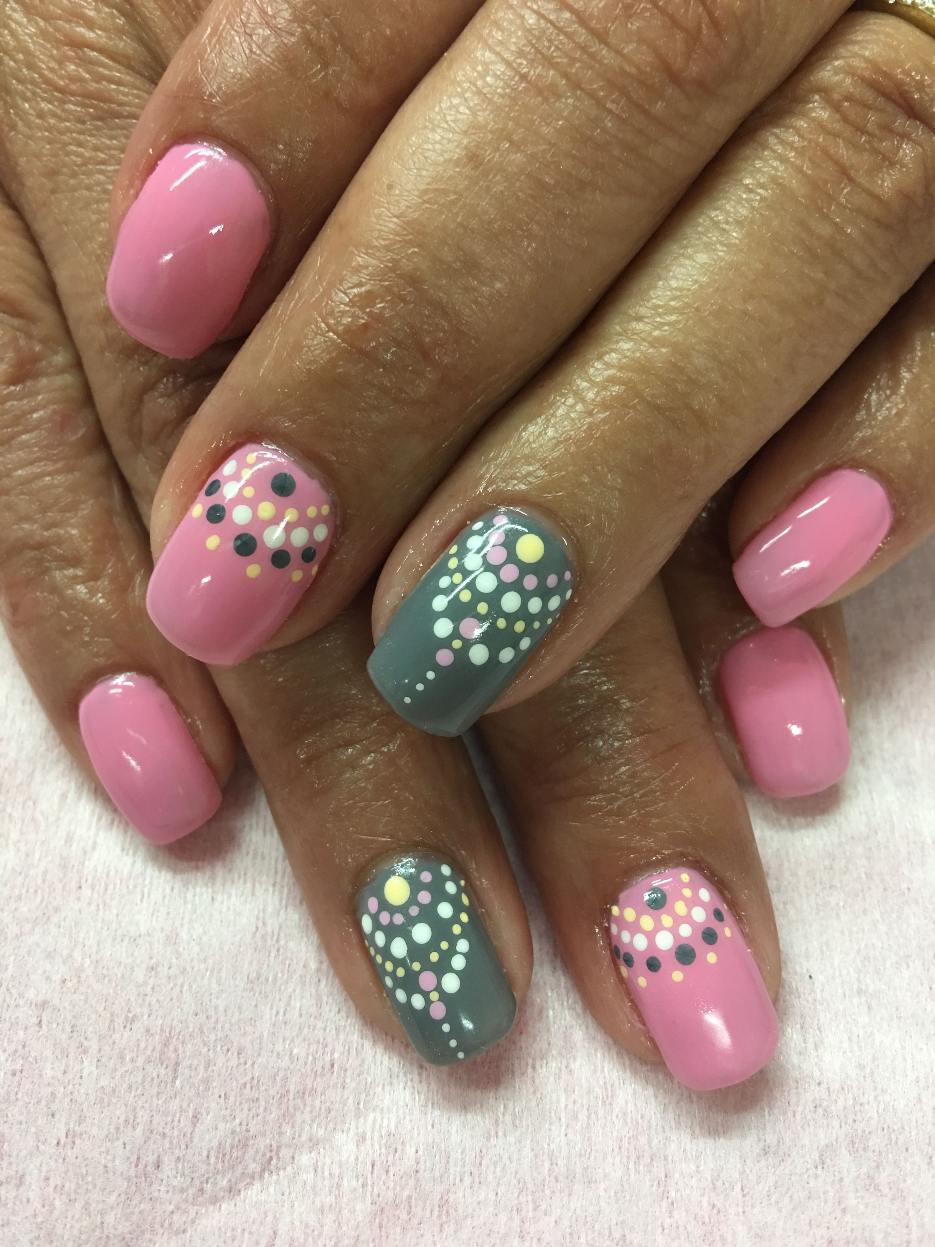 Boho Gel Nails Pink, Grey & pale yellow dot design Gel Nails | Gel ...