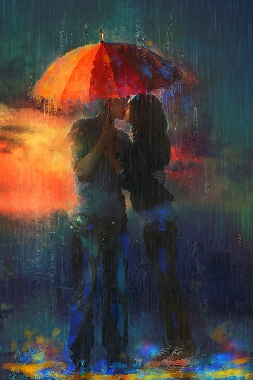 Двое под дождем картинки