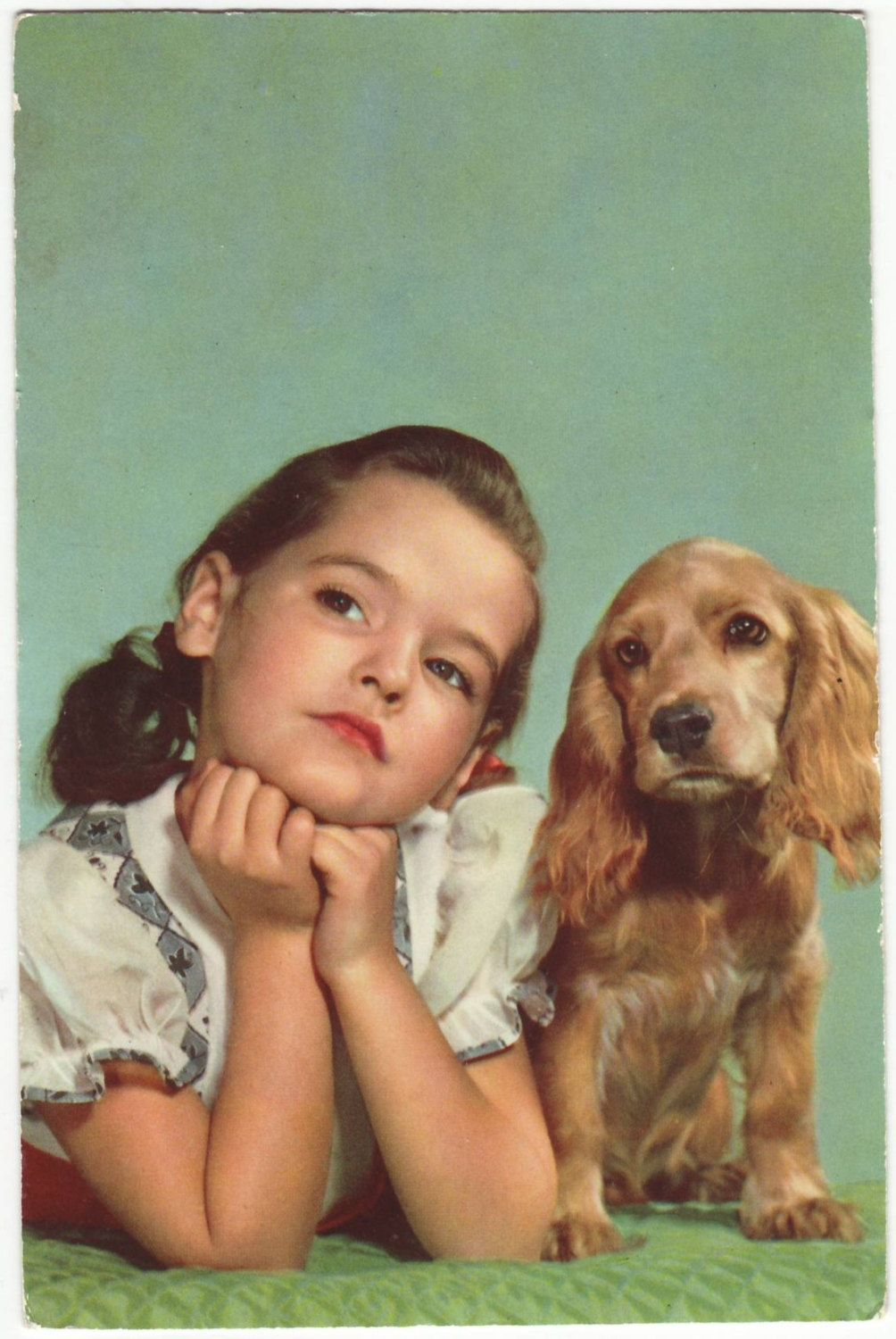 This Is An Antique Postcard From Italy Dated 1960 S It Has A Portrait Of A Little Girl And Her Cocker Spanie Cocker Spaniel Pet People Cocker Spaniel Puppies