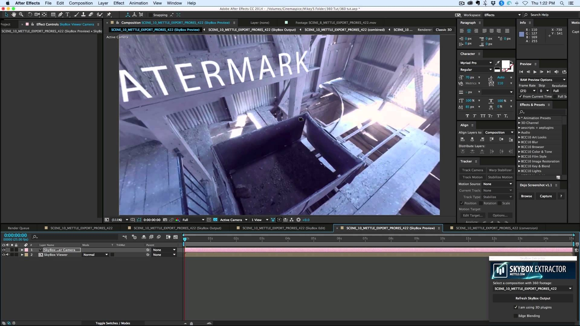 360 Video in After Effects is easy to work with using the