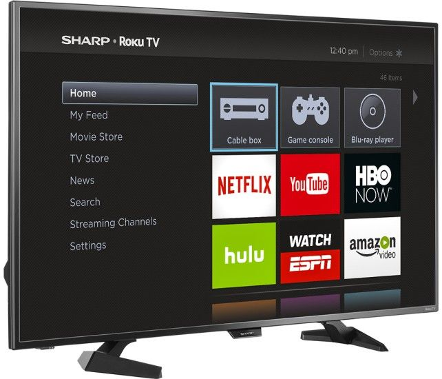 "Sharp - 43"" Class (42.5"" Diag.) - LED - 1080p - Smart - HDTV - Roku TV - Black - Angle Zoom"